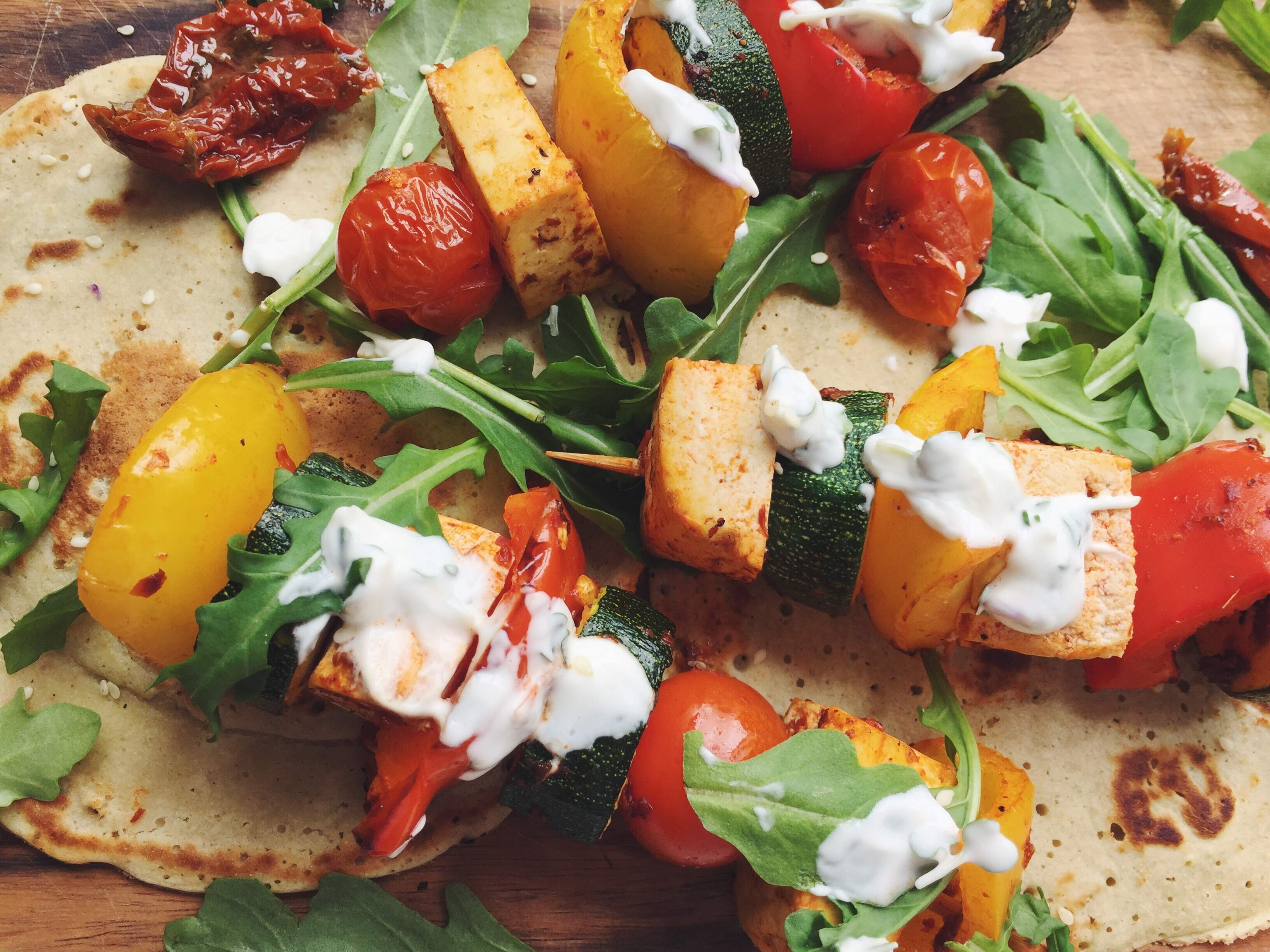Vegetable Kebabs With Buckwheat Flatbreads