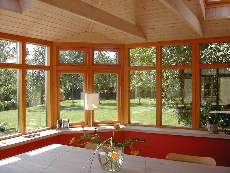 Interior of pine coloured sunroom