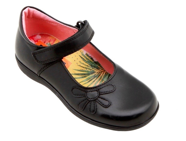 Black leather shoes with ankle strap and flower motif for girls