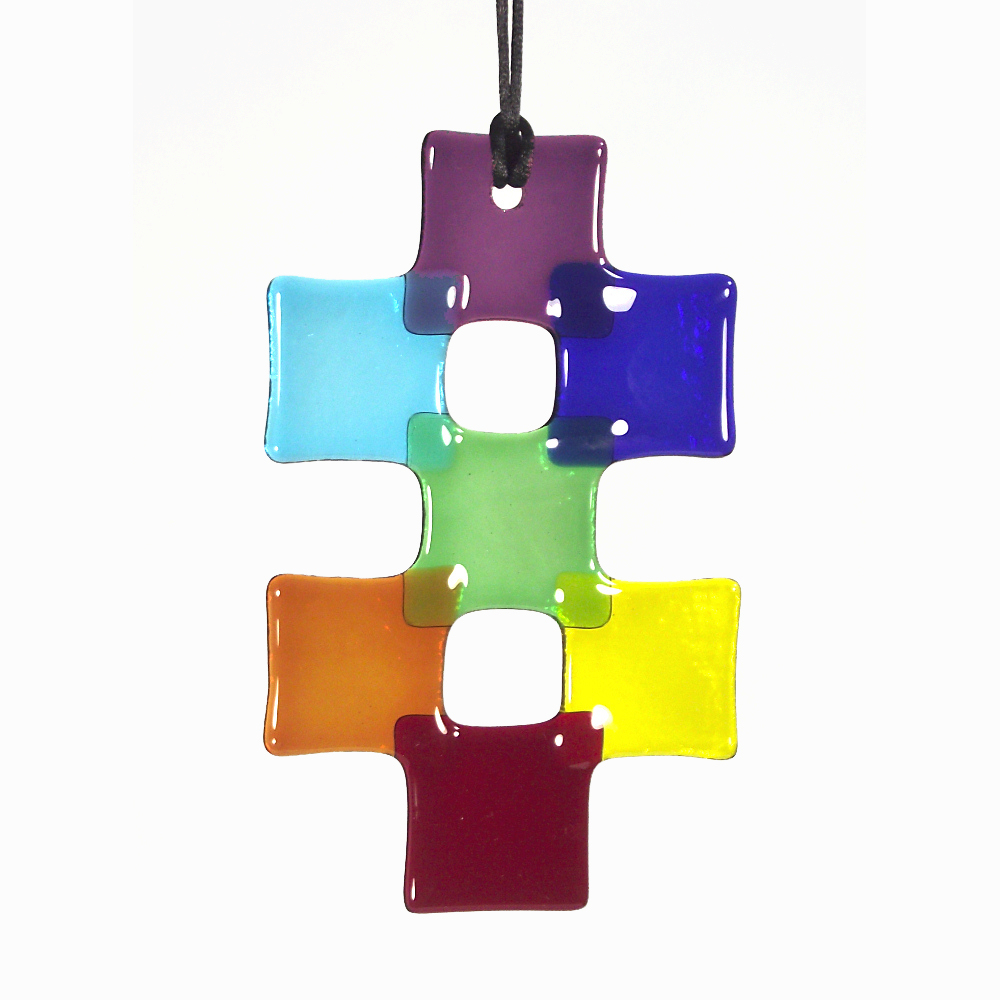 Fused-glass Rainbow / Chakra 'double-cross' suncatcher