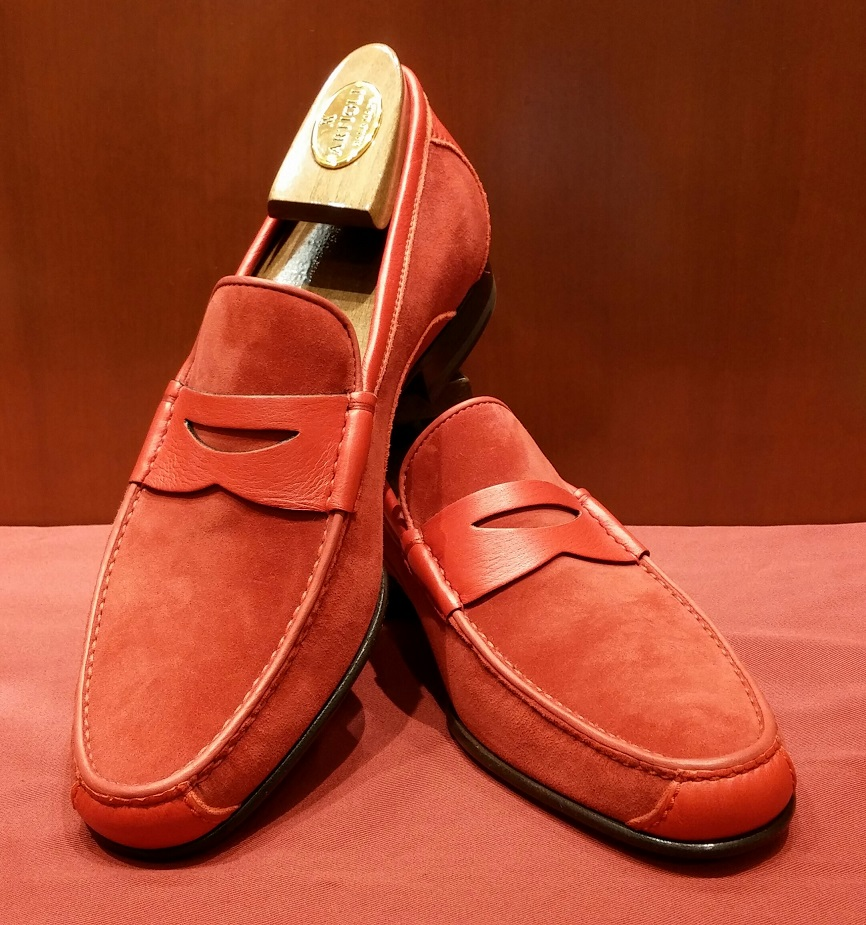 Loafer Model 418 Red Suede & Deer Skin