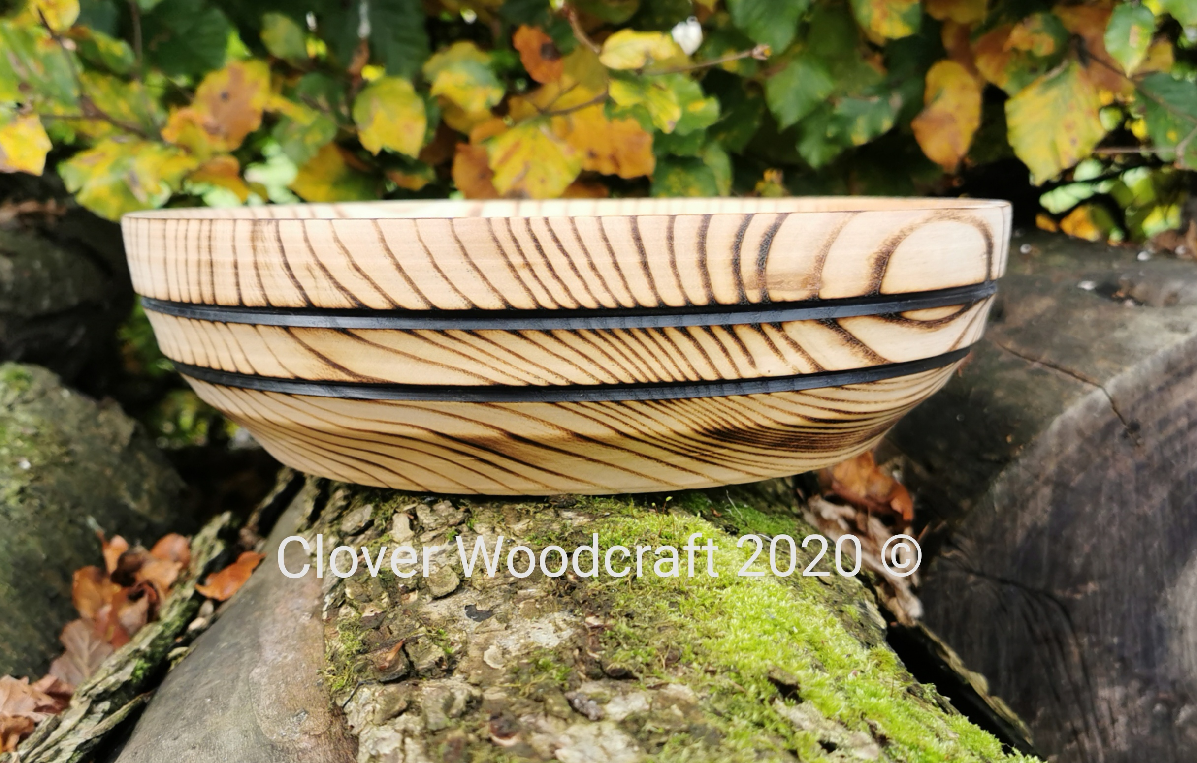 Wood Turned Ash Bowl Featuring Decorative Lines