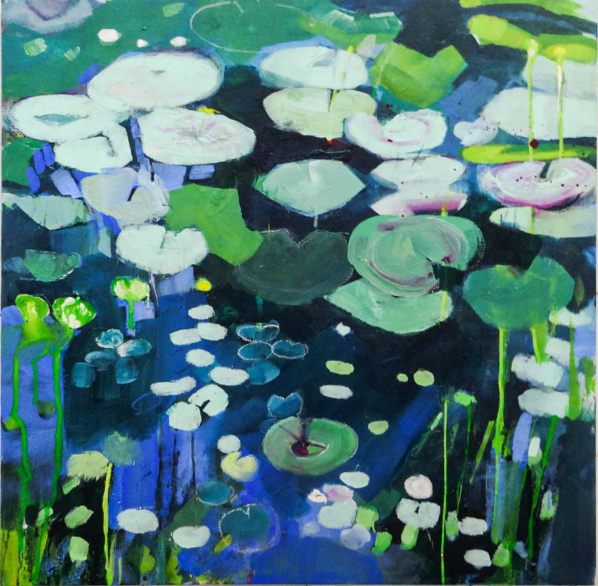 Sunlit Lily Pond by Paula Norris