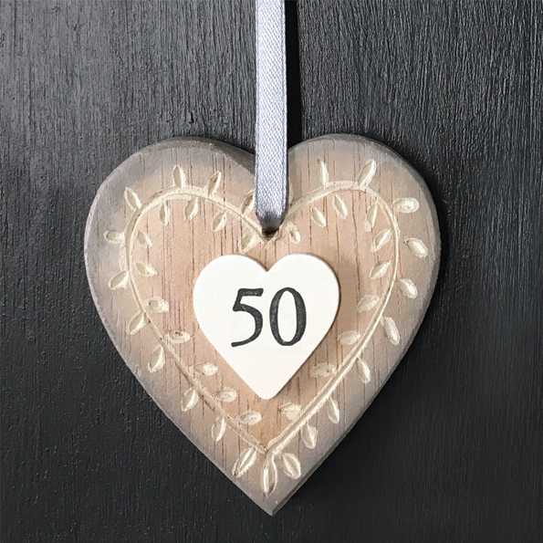 East Of India Age 50 Wooden Hanging Heart