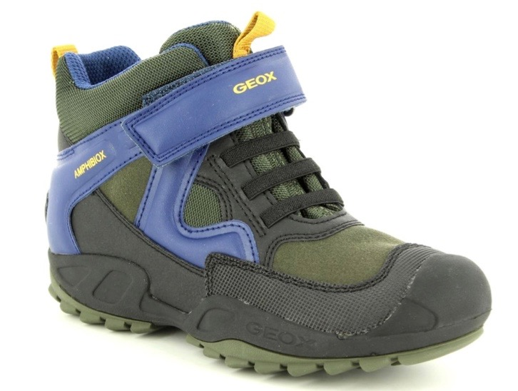 Geox boys trainers in khaki and blue