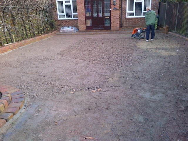 Works starts on new driveway in Block paved driveways Addlestone, Surrey