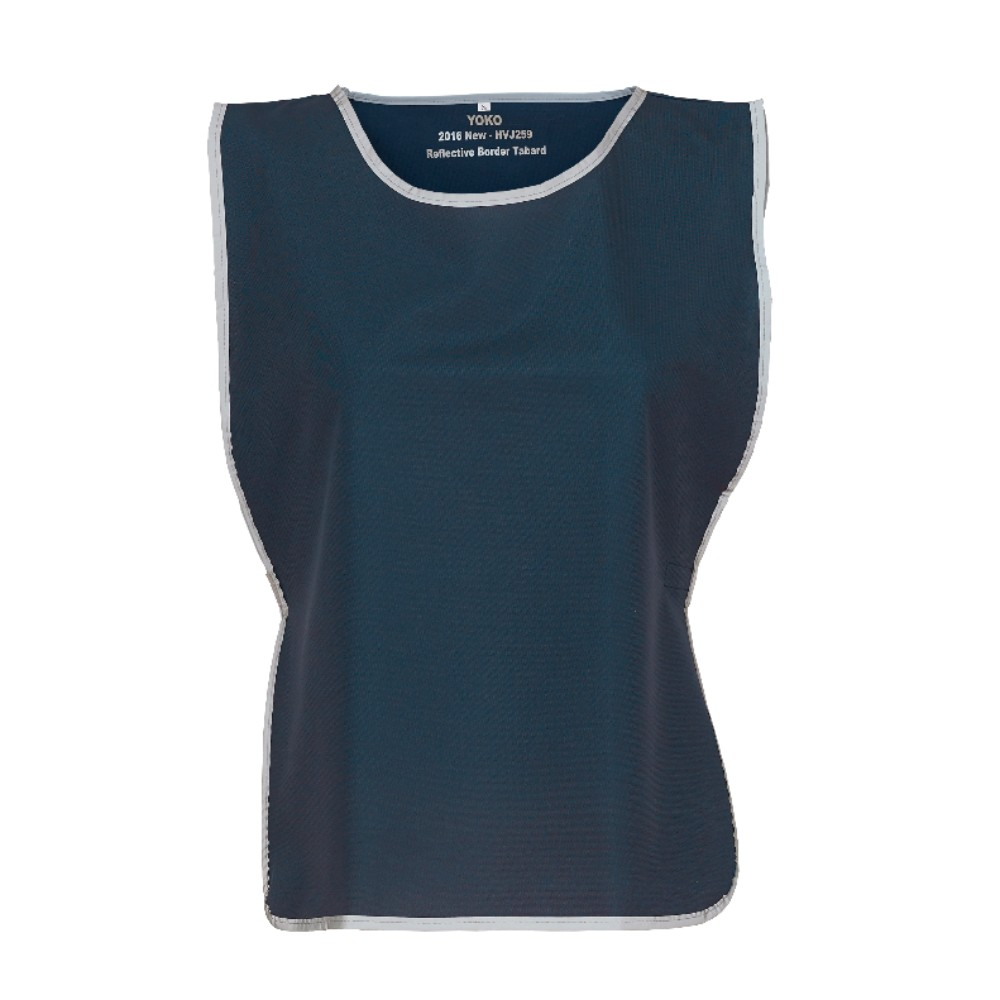 KHVJ259 Navy Blue Polyester Tabard with Reflective Trim