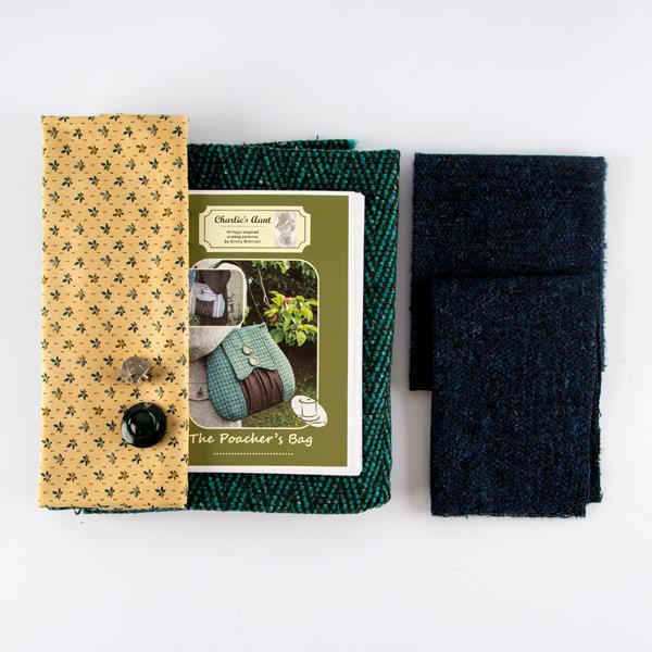 Fabric Affair: The Poacher's Bag 100% Tweed Hand Bag Kit - Emerald