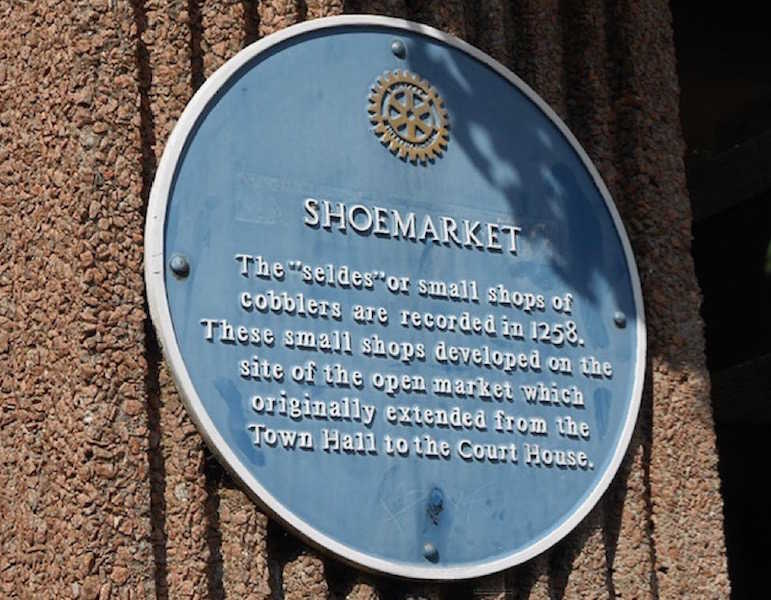 A plaque to the former shoemarket at Pontefract, West Yorkshire