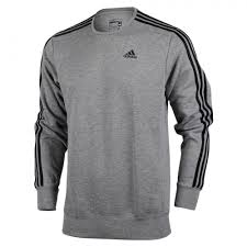 Mens Adidas 3S Crew Top Charcoal Grey-Black