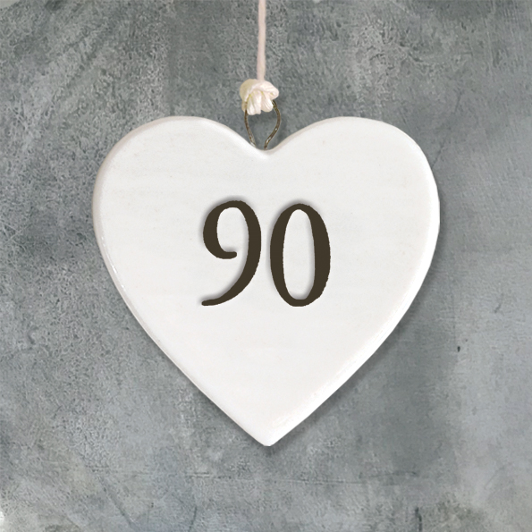 East Of India Age 90 Porcelain Hanging Heart