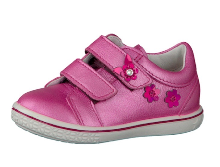 Metallic pink trainers for a toddler