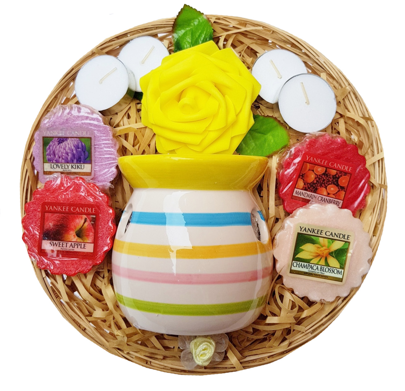Candle Burner Gift Basket - Yellow