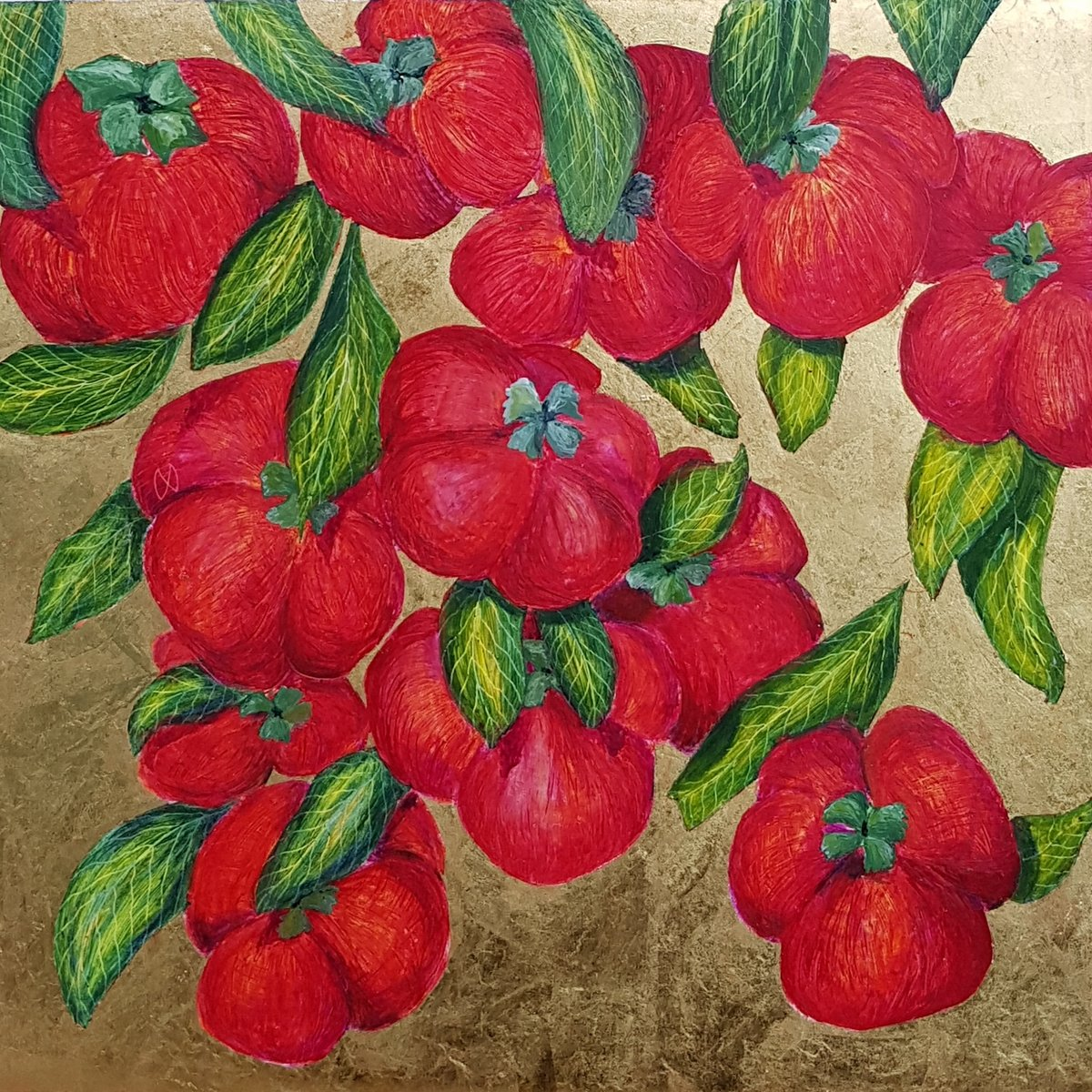 Vibrant painting of a Persimmon tree with juicy red fruit on gold leaf