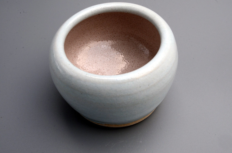 Blue/pink glaze on white earthenware