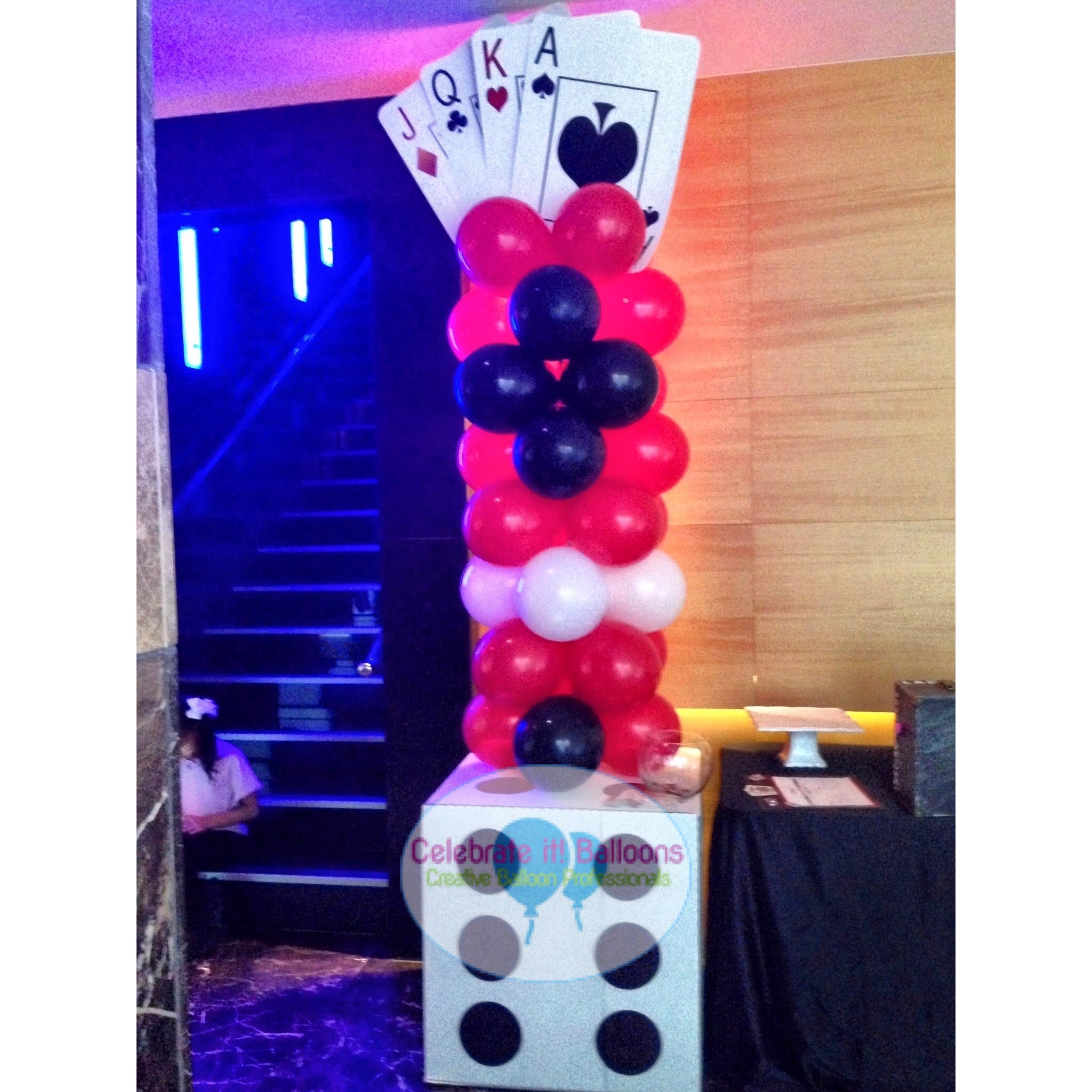 Casino theme balloon column with dice base in red, black and white