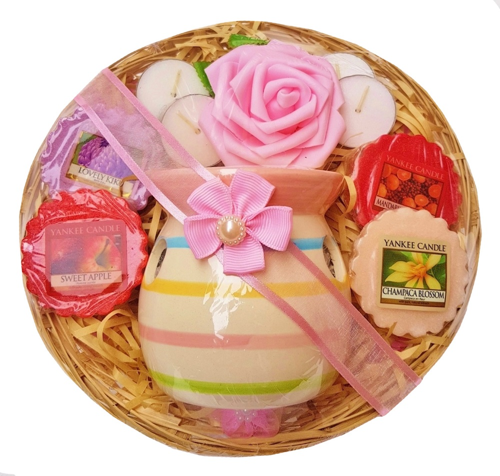 Candle Burner Gift Basket - Pink