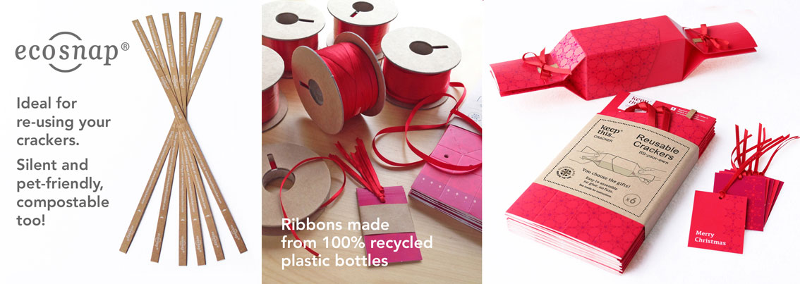 Pet friendly silent snaps, recycled ribbons and reusable crackers