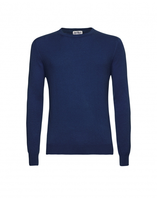 Round Neck Silk & Cashmere Blue 02