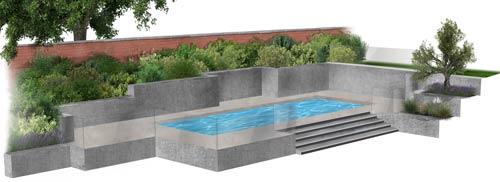 Modern swimming pool garden design by Wonderful Gardens