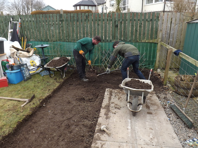 Digging a Dalbeattie garden for a hardstanding base for a garden shed