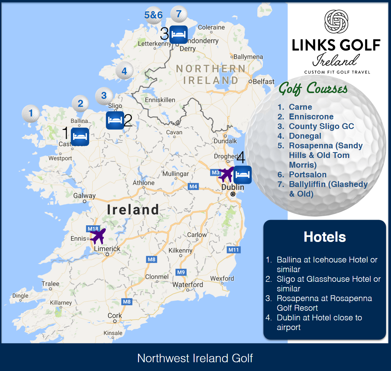 Map Of North West Ireland.Tour A Region Of Ireland Where The Golf Is As Good As It Gets And