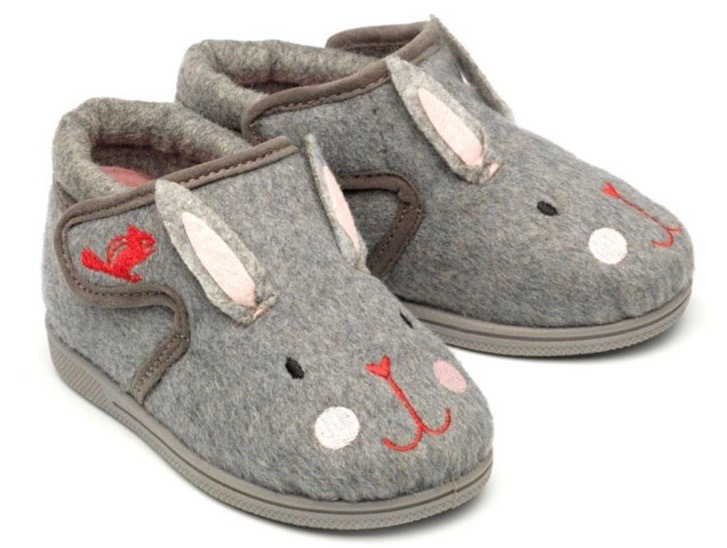 Cosy rabbit slippers for toddlers with velcro tabs