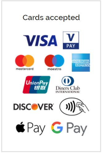 List of credit cards accepted