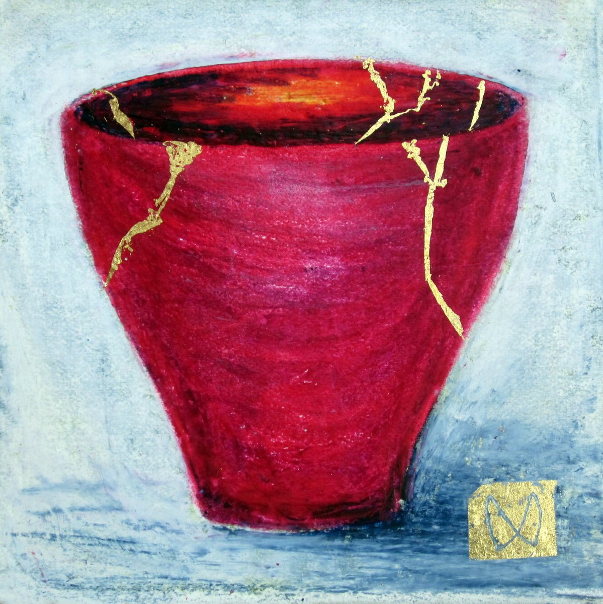 painting of Japanese kintsugi tea bowl with gold by Irish artist cerise red
