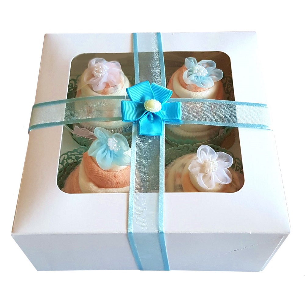 Women's Sock Cupcakes, Blue Ribbon Gift Box