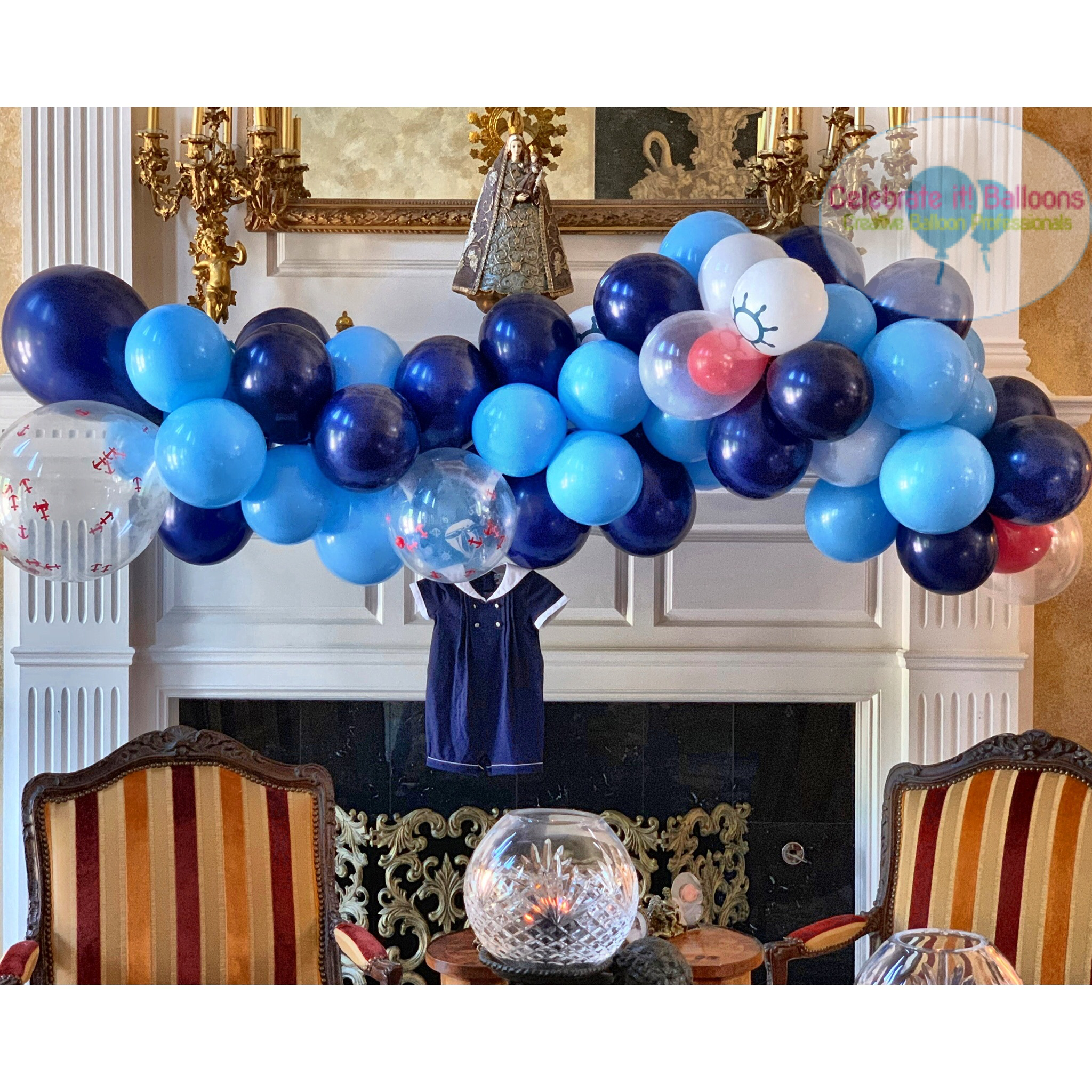 baby shower blue organic garland with anchor theme