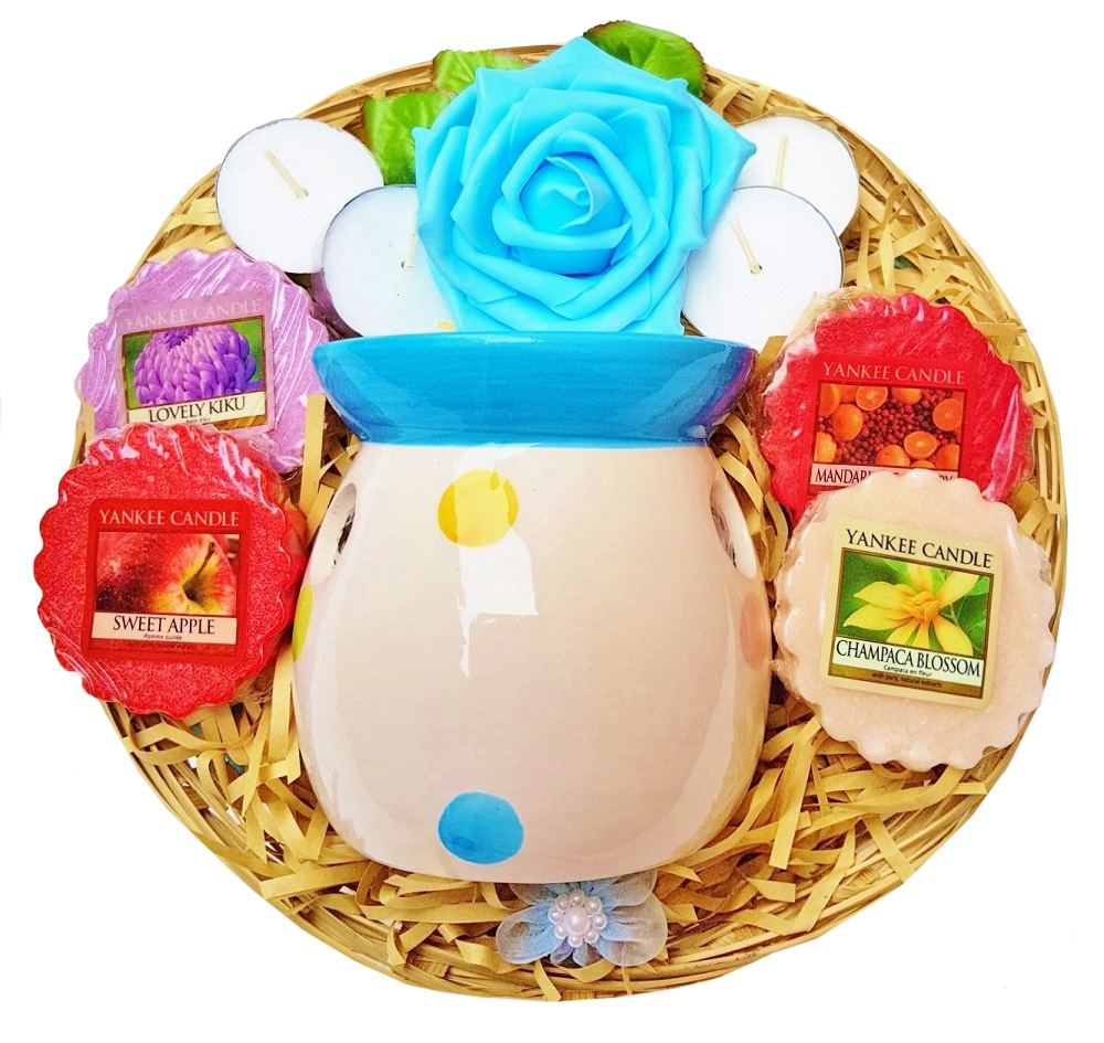 Candle Burner Gift Basket - Blue