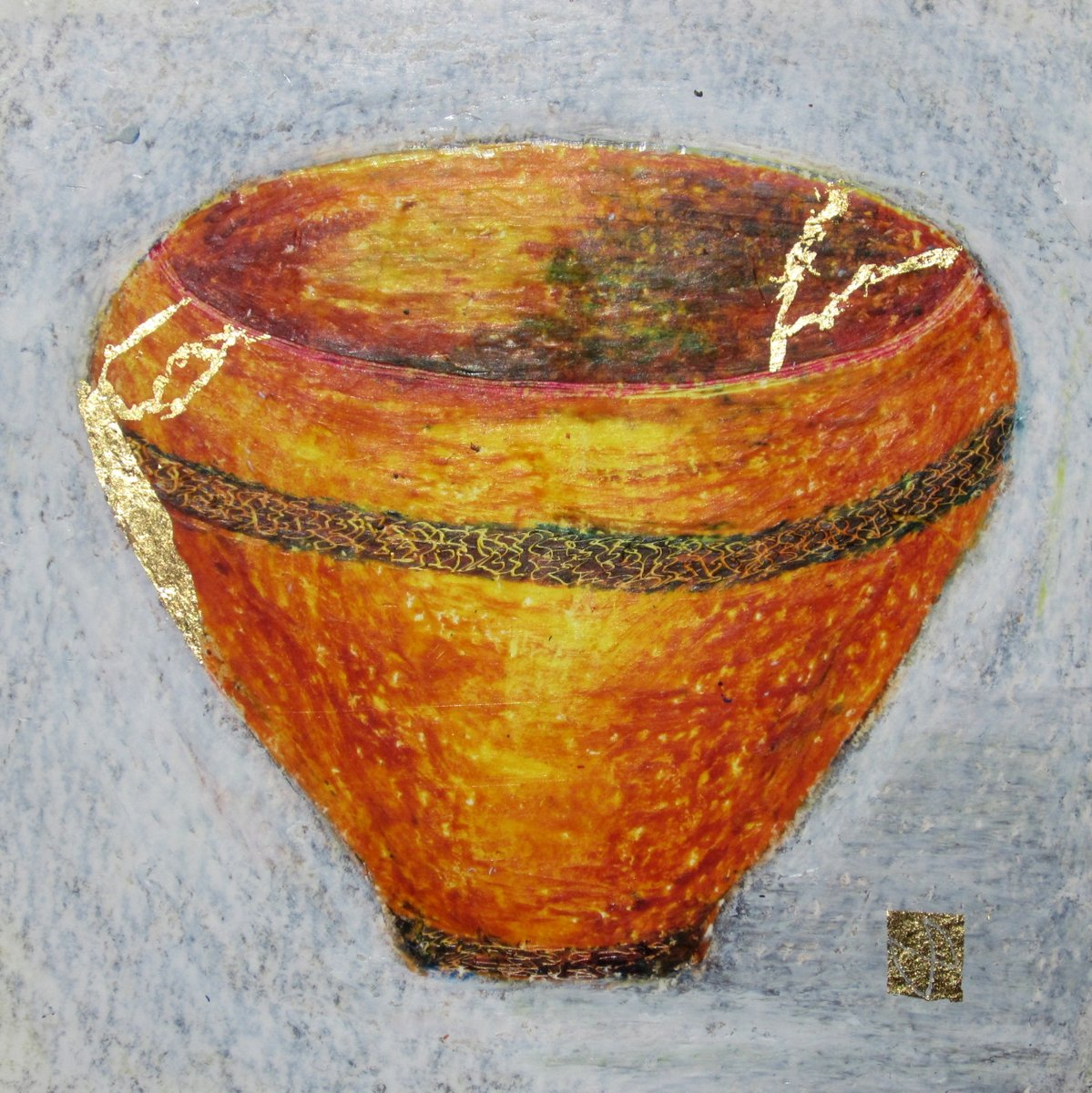 painting of Japanese kintsugi tea bowl with gold by Irish artist yellow orange
