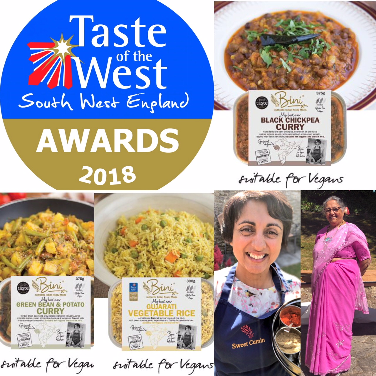 3 GOLD AWARDS for Bini Curries VEGAN readymeals in the Taste of the West Awards 2018