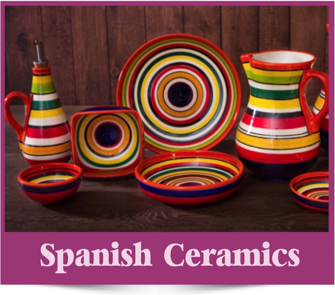 Spanish ceramics at Brambles Deli Kirkcudbright