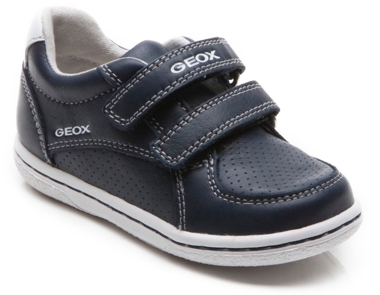 Geox blue leather trainers with Velcro fastenings for toddler boys