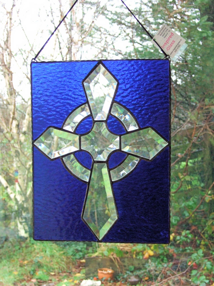 Stained-glass 'Celtic-cross' panel - one only!