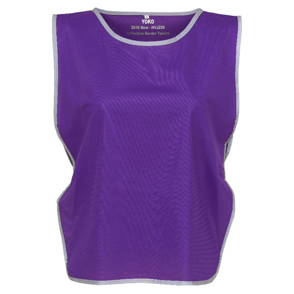 KHVJ259 Purple Lightweight Polyester Tabard with Reflective Trim