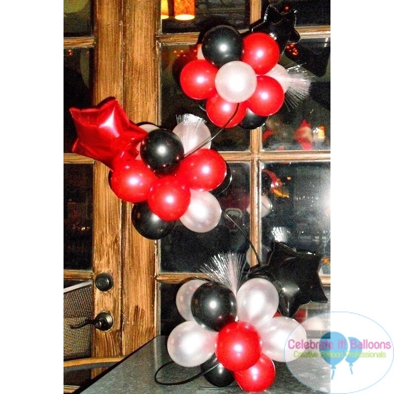 Fancy balloon centerpiece in red, black and silver