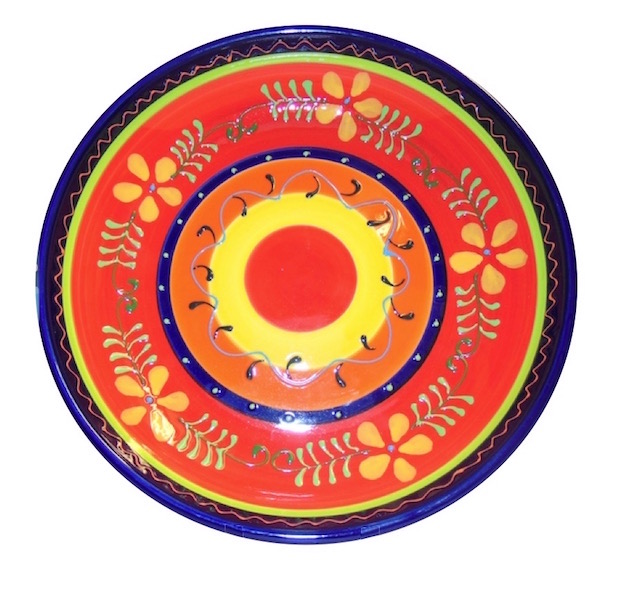 Classic Spanish Orange Flower Shallow Bowl