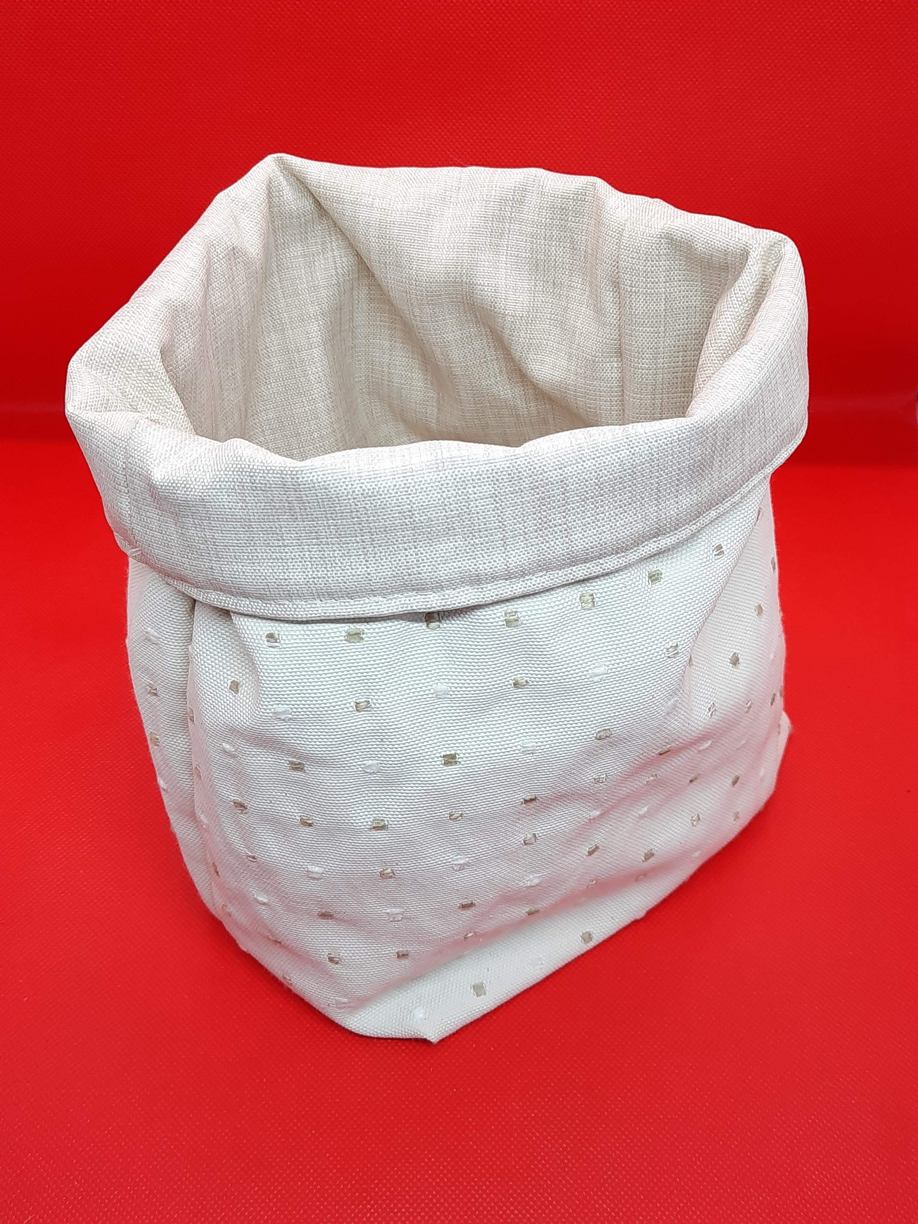 Storage bag made from extra bedroom curtain material