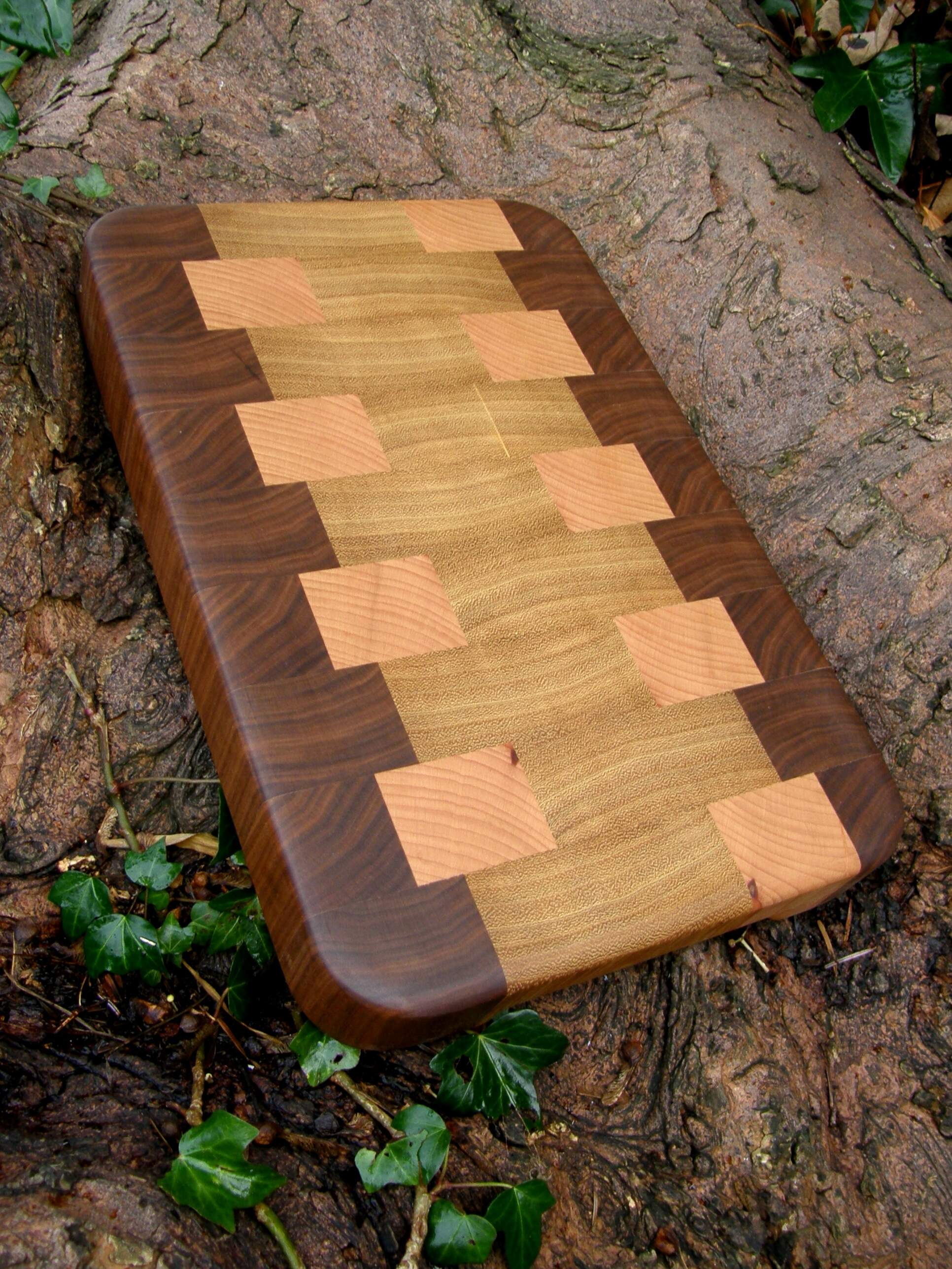 One of latest End Grain Chopping Boards Handmade in Walnut, Cherry & Iroko.