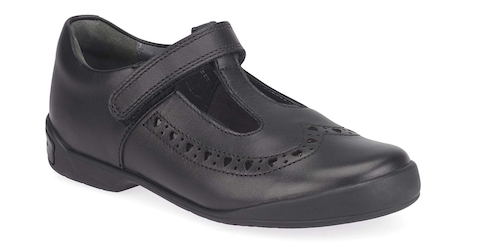 Black leather girls' school shoes