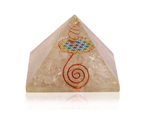 Quartz Flower Of Life Orgone Pyramid