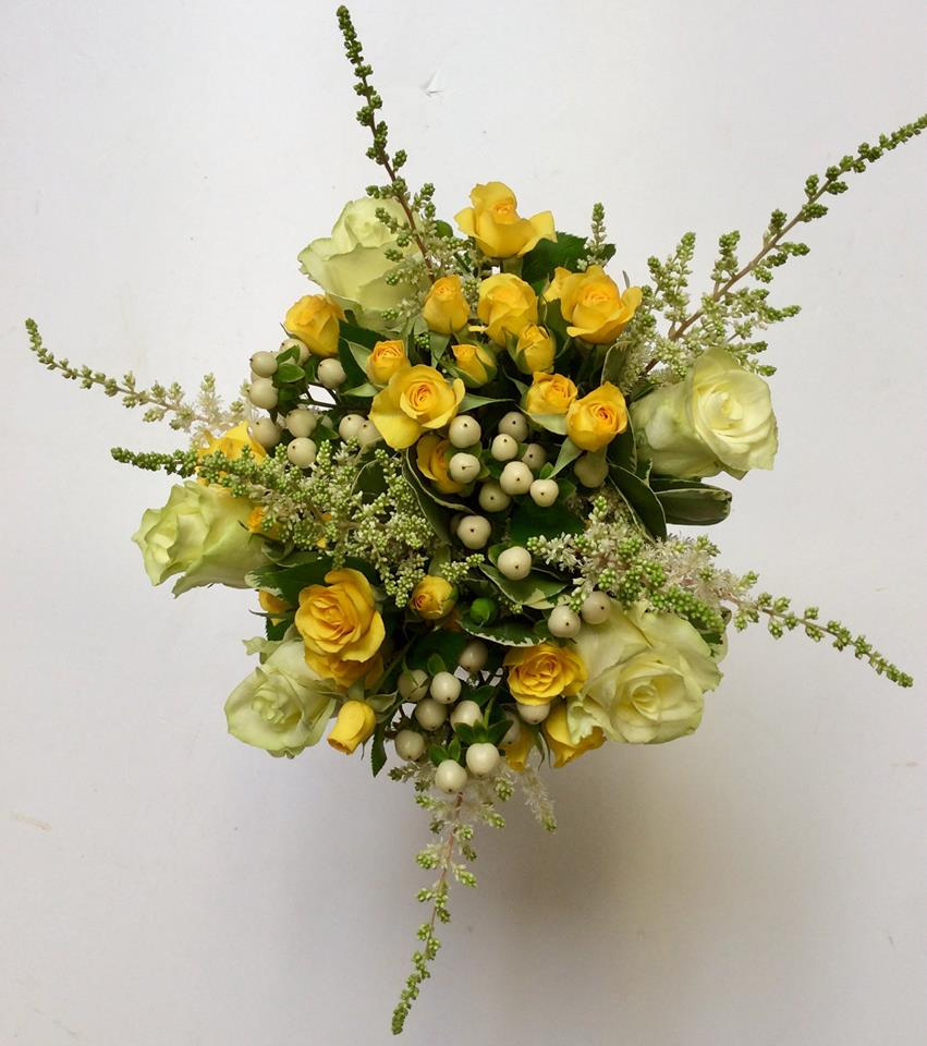 The beautiful posy of yellow and cream roses arranged by Willow Kirkcudbright for HRH Princess Anne