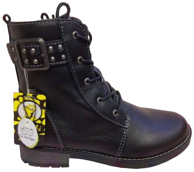 Sturdy black leather lace-up boots for girls with buckle and stud feature