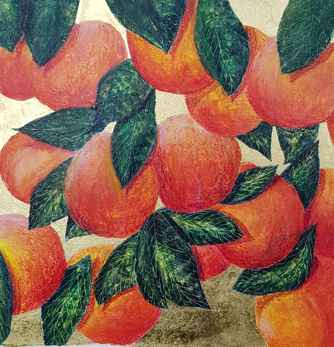Vibrant painting of a Nectarine tree with juicy ripe fruit on gold leaf