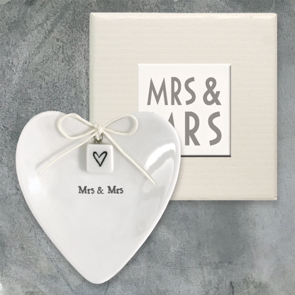 East Of India Mrs & Mrs Ceramic Ring Dish