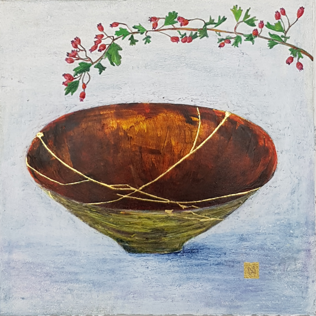 Contemporary painting of a moss green and warm brown kintsugi bowl with hawthorn branch and  gold repair.