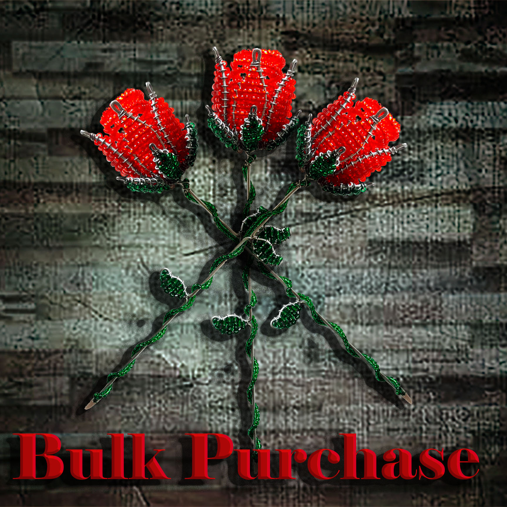 Z6 African Beadwork Rose (Bulk Purchase)
